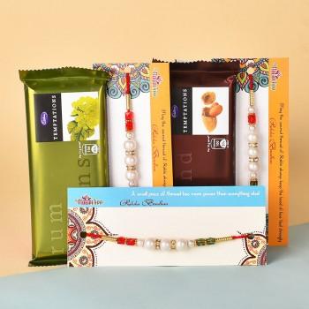 3 Pearl Rakhis N Temptations Chocolates