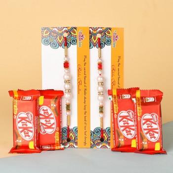 2 Pearl Rakhis N Kitkat Chocolates