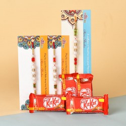 3 Pearl Rakhis N Kitkat Chocolates