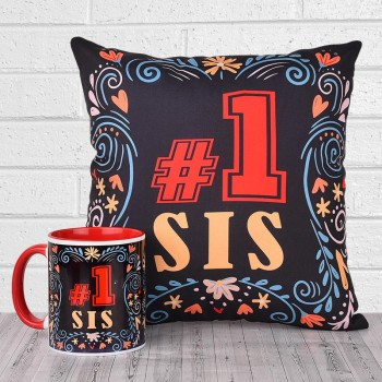 No 1 Sis Printed Cushion and Mug Combo for Sister