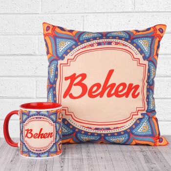 Traditional Design Printed Combo of Mug and Cushion for sister