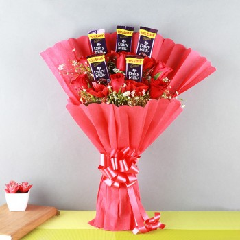 One Bouquet of 6 Red Roses and 5 Dairy Milk (13.2 gm) Chocolates