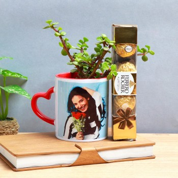 One Jade Plant with Personalised Red Heart Handle Mug and Ferrero Rocher Chocolate (4 pcs) for Her