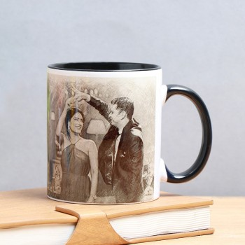 One Sketch Art Personalised Black Handle Mug