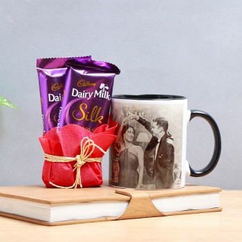 One Sketch Art Personalised Black Handle Mug with 2 Dairy Milk Silk Chocolate