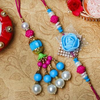 Designer Rose Lumba Rakhi Set