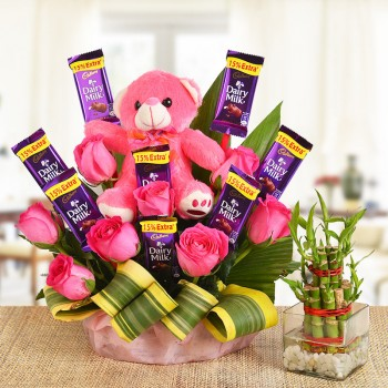 A Basket Arrangement of 8 Pink roses, 8 Cadbury's Dairy Milk of 13 gms each and a pink Teddy bear (6 Inches) with dracaena leaves with 2 layer Lucky Bamboo Plant