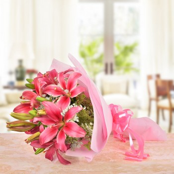 10 Pink Asiatic Lilies in Paper Packing