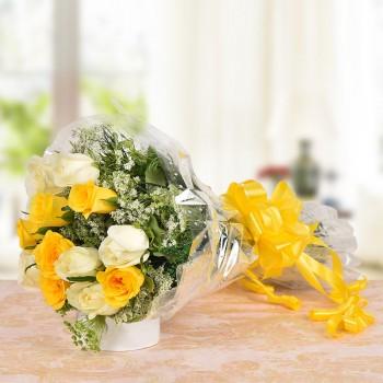 12 (White and Yellow)Roses Bunch