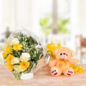 6 Yellow Roses and 6 White Roses with 1 Brown Teddy Bear (6 Inches)