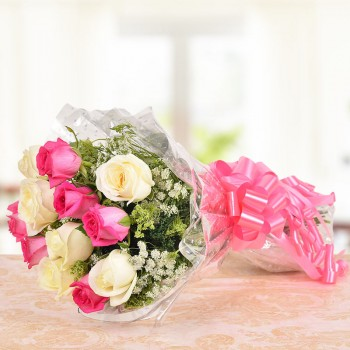 12 (Pink and White) Roses Bunch