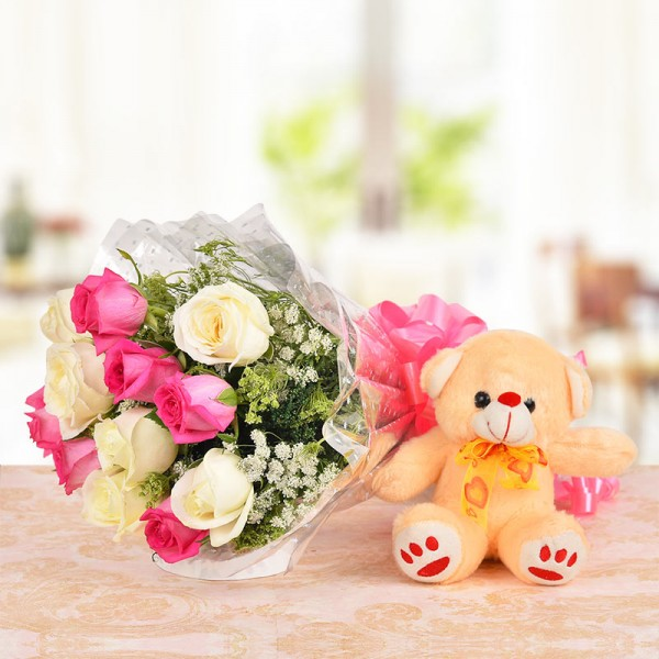 6 Pink Roses with 6 White Roses and 1 Brown Teddy Bear (6 Inches)