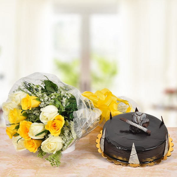 6 Yellow Roses and 6 White Roses with Half Kg Chocolate Truffle Cake