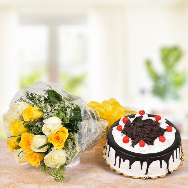 6 Yellow Roses and 6 White Roses with Half Kg Black Forest Cake