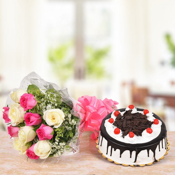 6 Pink Roses and 6 White Roses with Half Kg Black Forest Cake