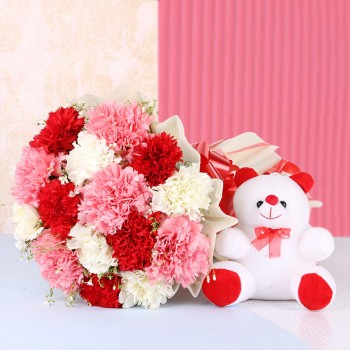 15 Mix Carnations in White Paper packing with Teddy Bear (6 inches)