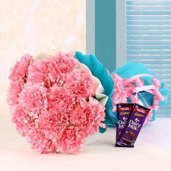 12 Pink Carnations in Blue and White Paper Packing with 2 Cadbury's DairyMilk Chocolates (25gms each)