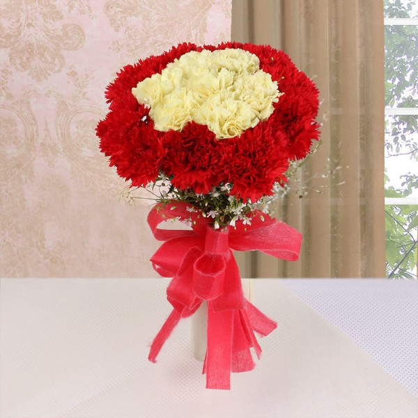 16 Carnations (Yellow and Red) with Red Ribbon