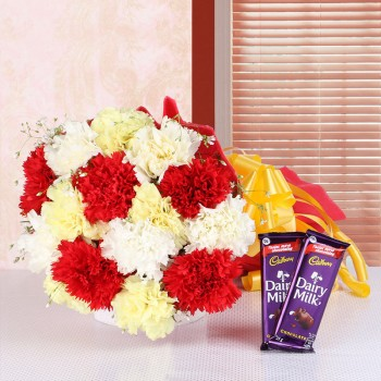 15 Carnations (Yellow, White and Red) in Red Paper packing with 2 Cadbury's Dairy Milk Chocolates (25gms each)