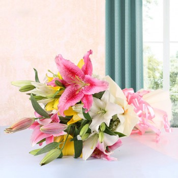 8 Assorted Asiatic Lilies with White Paper packing