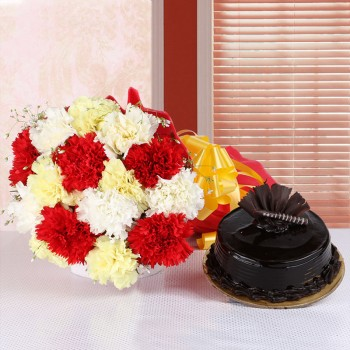 15 Carnations (Yellow, White and Red) in Red Paper packing with Chocolate Truffle Cake (Half Kg)