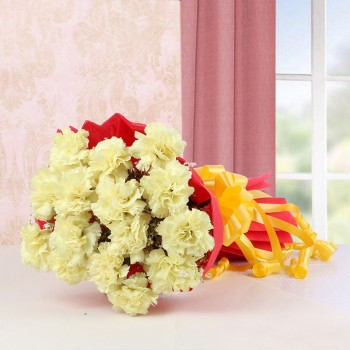 15 Yellow Carnations with Red Paper Packing