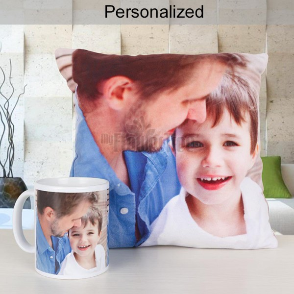 Combo of Personalised Photo Cushion and Coffee Mug
