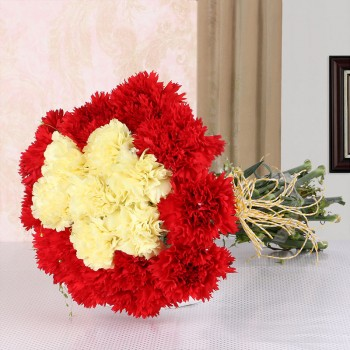 16 Carnations (Yellow and Red) with Yellow Raffia Knot