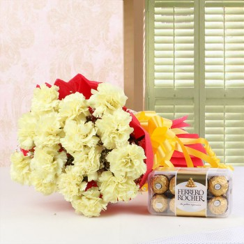 15 Yellow Carnations in Red Paper Packing with a box of 16 pcs of Ferrero Rocher Chocolates