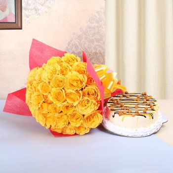 25 Yellow Roses in Red Paper with Butterscotch Cake (Half Kg)