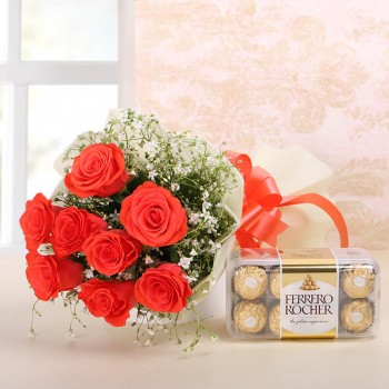 8 Orange Roses in White paper with Ferrero Rocher (16 pcs)
