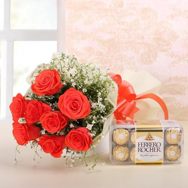 8 Orange Roses in White paper with Ferrero Rocher (16 pcs)