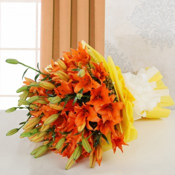 10 Asiatic Orange Lilies in Yellow Paper