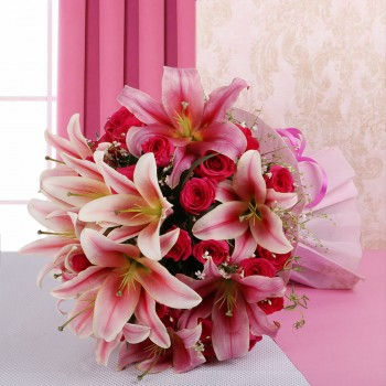 15 Hot Pink Roses with 8 Oriental Pink Lilies in Paper Packing
