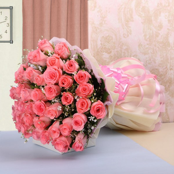 40 Pink Roses in Paper Packing