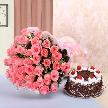 40 Pink Roses in White and Pink Paper with Black Forest Cake (Half Kg)