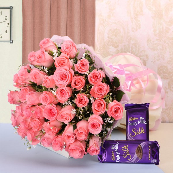 40 Pink Roses in White and Pink Paper with 2 Cadbury's Silk (60gms each)