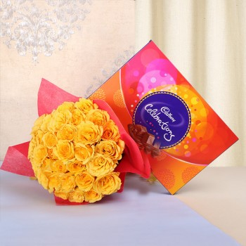 25 Yellow Roses in Red Paper with Cadbury's Celebrations (131.3gms)