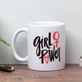Girl Power Printed White Coffee Mug