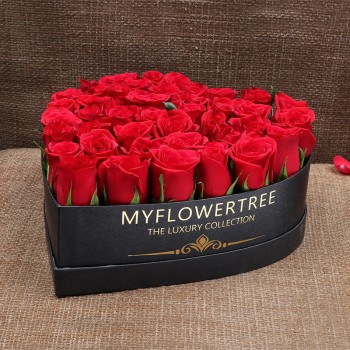 50 Red Roses in MFT Special Heart Black Box