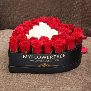 50 Assorted Roses in MFT Special Heart Black Box