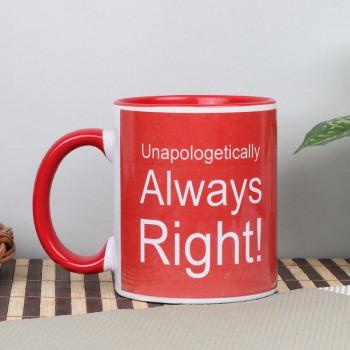 One Printed Quote Red Handle Ceramic Mug