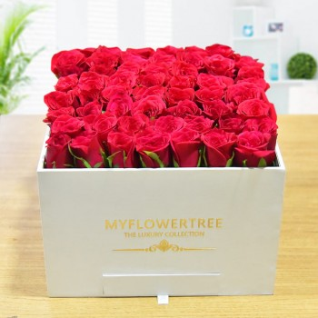 40 Red Roses in a White Signature Velvet Box with 12 Handmade Chocolates