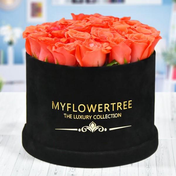40 Orange Roses in a Black Signature Velvet Box