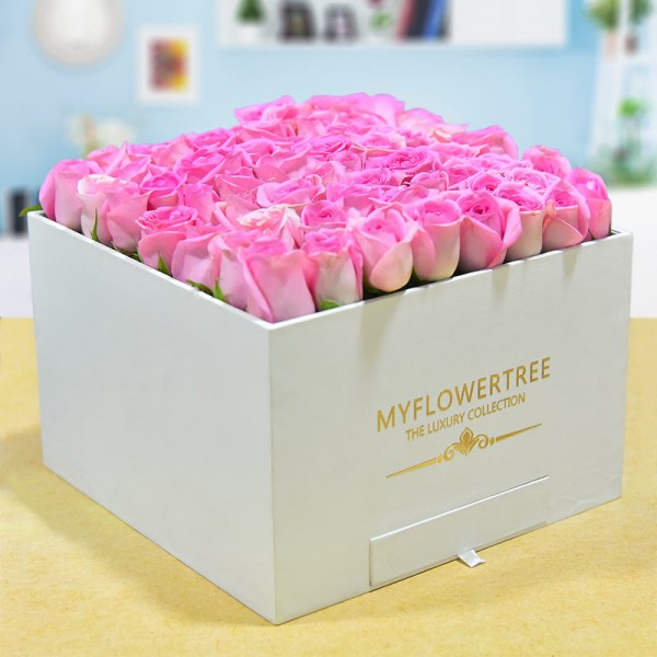 40 Pink Roses in a White Signature Velvet Box with 12 Handmade Chocolates