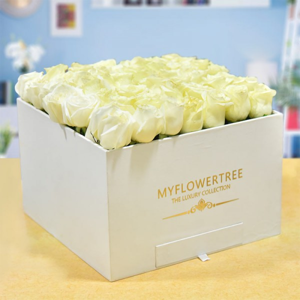 40 White Roses in a White Signature Velvet Box with 12 Handmade Chocolates