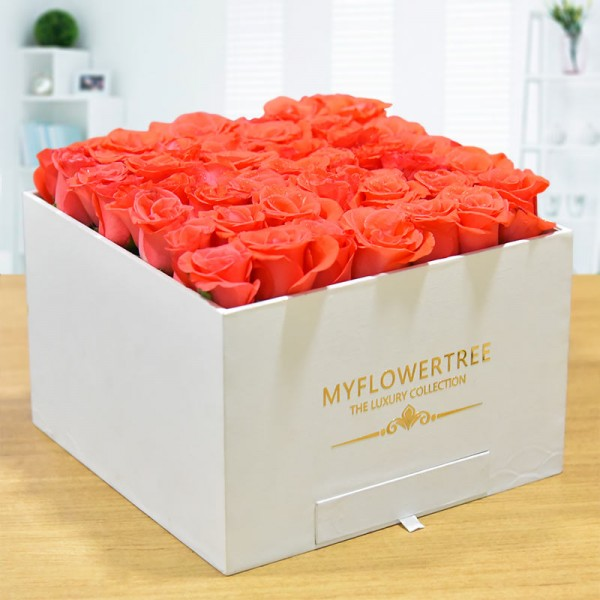 40 Orange Roses in a White Signature Velvet Box with 12 Handmade Chocolates