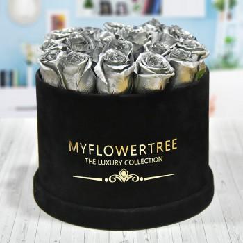 40 Silver Spray Roses in a Black Signature Velvet Box