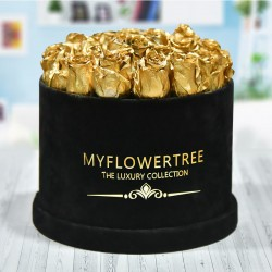 Sparkling Box of Gold Roses