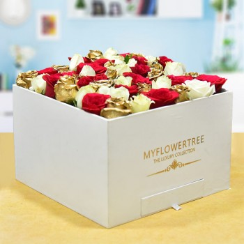 50 Assorted Roses in a MFT White Signature Velvet Box with 12 Handmade Chocolates